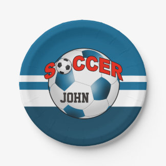 DIY Soccer Ball CHOOSE YOUR BACKGROUND COLOR 7 Inch Paper Plate