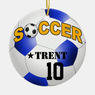 DIY Soccer Ball CHOOSE YOUR BACKGROUND COLOR Ceramic Ornament