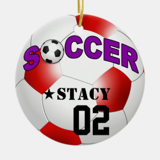 DIY Soccer Ball CHOOSE YOUR BACKGROUND COLOR Round Ceramic Ornament
