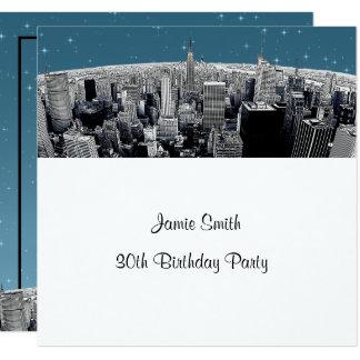 DIY Starry NYC Etched Fisheye Skyline Birthday SQ Card