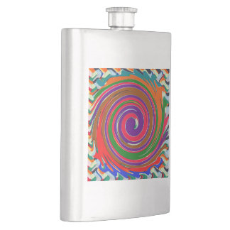 DIY Template ADD photo text 12 color label choices Hip Flask