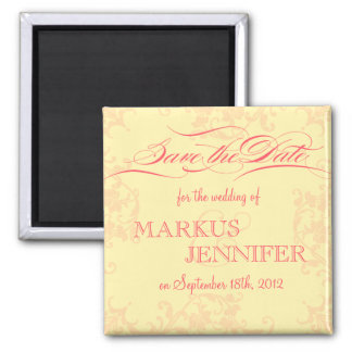 DIY Vintage Hot Pink & Yellow Save the Date Magnet