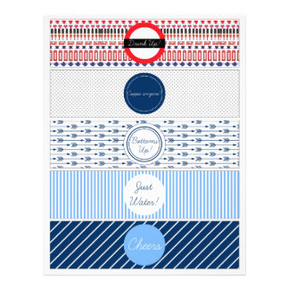 DIY Water bottle Label with British theme Customized Letterhead