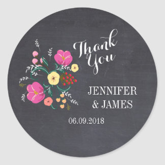 DIY Wedding floral chalkboard favour stickers