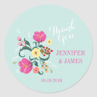 DIY Wedding floral vintage flowers favour stickers
