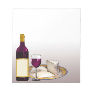DIY WINE BOTTLE LABEL, WINE GLASS, CHEESE PERSONAL NOTEPAD