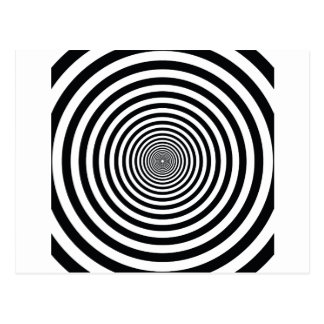 dizzy illusion black and white circle art vo1 postcard