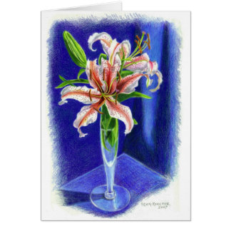 Dizzy Oriental Lily in colored pencil Card