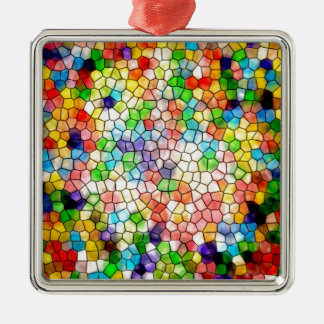 Dizzy stained glass Silver-Colored square ornament