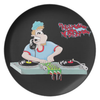 DJ black cartoon plate