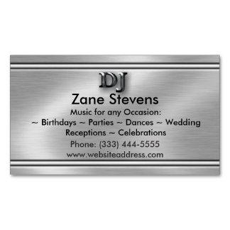 DJ Brushed Silver Chrome Business Card Magnet