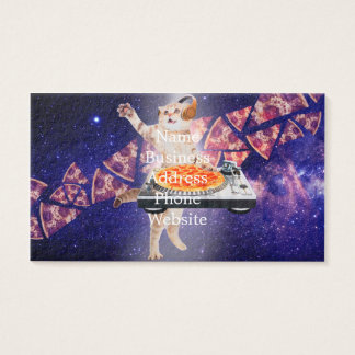 dj cat - cat dj - space cat - cat pizza business card