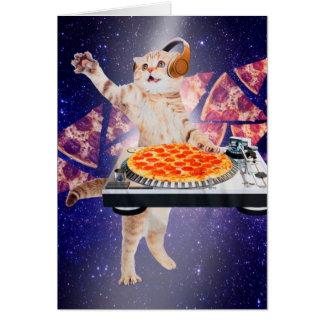 dj cat - cat dj - space cat - cat pizza card