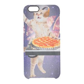 dj cat - cat dj - space cat - cat pizza clear iPhone 6/6S case
