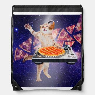 dj cat - cat dj - space cat - cat pizza drawstring bag