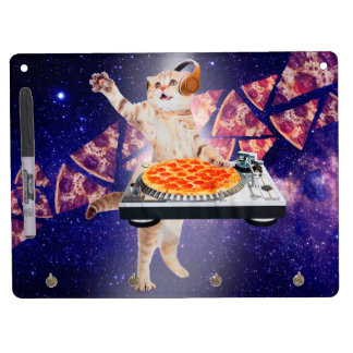 dj cat - cat dj - space cat - cat pizza dry erase board with keychain holder