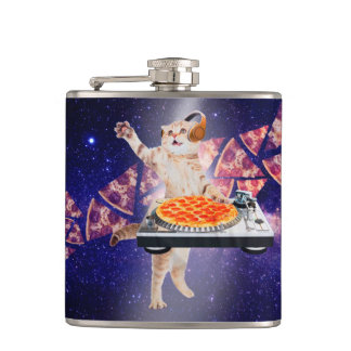 dj cat - cat dj - space cat - cat pizza hip flask