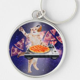 dj cat - cat dj - space cat - cat pizza keychain