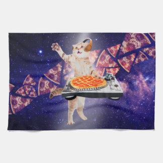 dj cat - cat dj - space cat - cat pizza kitchen towel