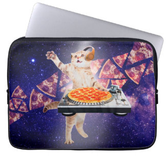 dj cat - cat dj - space cat - cat pizza laptop sleeve