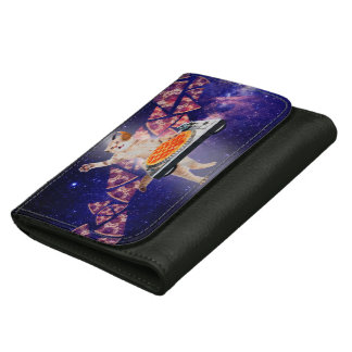 dj cat - cat dj - space cat - cat pizza leather wallet for women