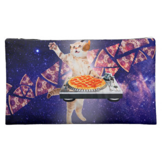 dj cat - cat dj - space cat - cat pizza makeup bag