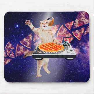 dj cat - cat dj - space cat - cat pizza mouse pad