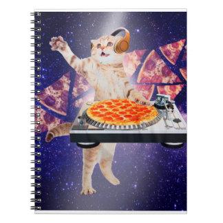 dj cat - cat dj - space cat - cat pizza notebooks