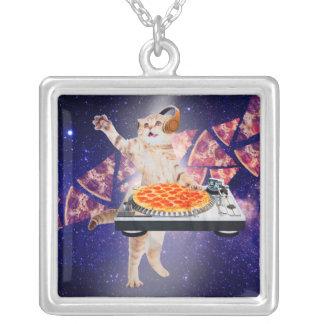 dj cat - cat dj - space cat - cat pizza silver plated necklace