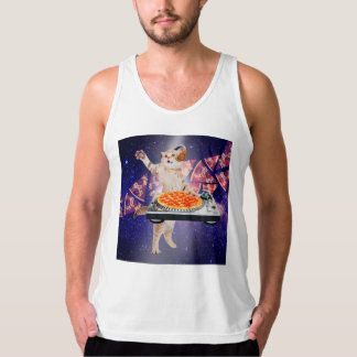 dj cat - cat dj - space cat - cat pizza tank top