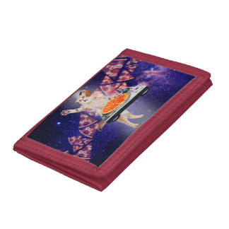 dj cat - cat dj - space cat - cat pizza tri-fold wallet