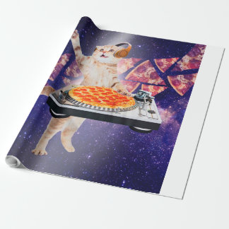 dj cat - cat dj - space cat - cat pizza wrapping paper
