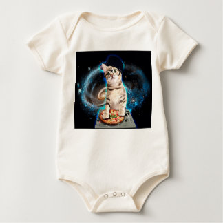 dj cat - space cat - cat pizza - cute cats baby bodysuit