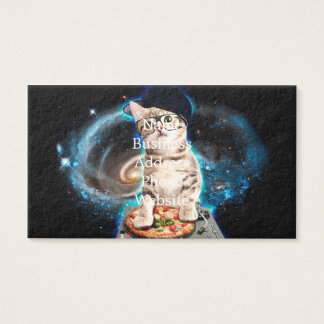 dj cat - space cat - cat pizza - cute cats business card