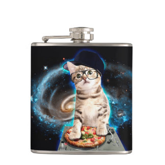 dj cat - space cat - cat pizza - cute cats hip flask
