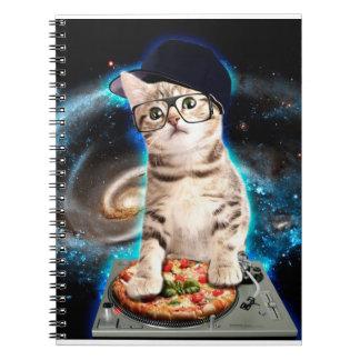 dj cat - space cat - cat pizza - cute cats notebook
