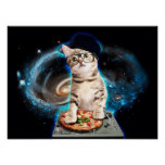 dj cat - space cat - cat pizza - cute cats poster