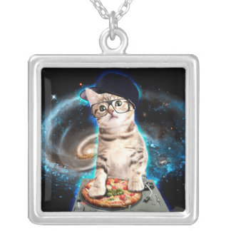 dj cat - space cat - cat pizza - cute cats silver plated necklace
