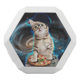 dj cat - space cat - cat pizza - cute cats white bluetooth speaker