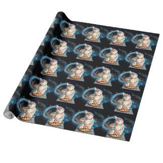 dj cat - space cat - cat pizza - cute cats wrapping paper