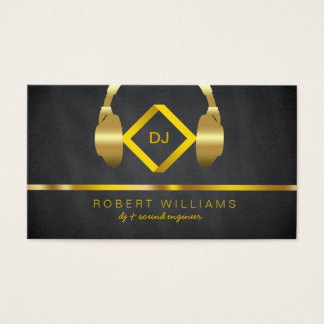 DJ Deejay Professional Headphone Gold Faux Music Business Card