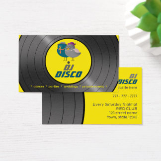 DJ Disco Music Retro Vinyl Record Bird Couple Chic Business Card