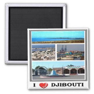 DJ - Djibouti - I Love - Collage Mosaic Magnet