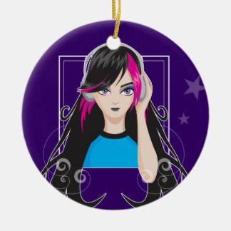 DJ Girl Ceramic Ornament