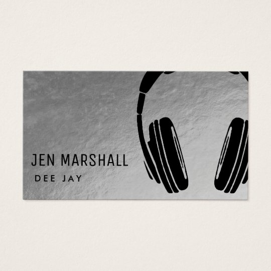 DJ headphones on faux silver Business Card