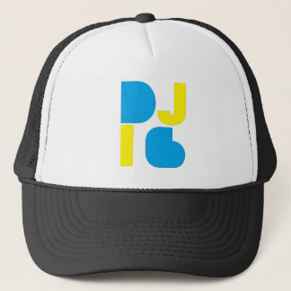 DJ i6 Blue/Yellow Logo 1 Trucker Hat