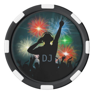 DJ illustration custom monogram poker chips