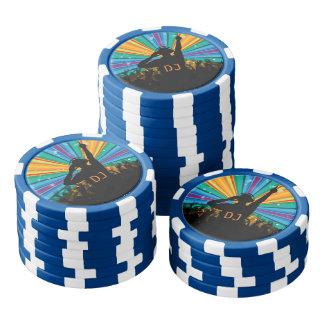 DJ illustration custom monogram poker chips