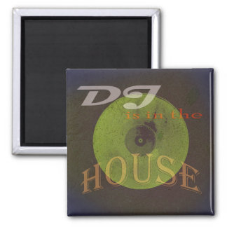 Dj is in the house musical cover square magnet