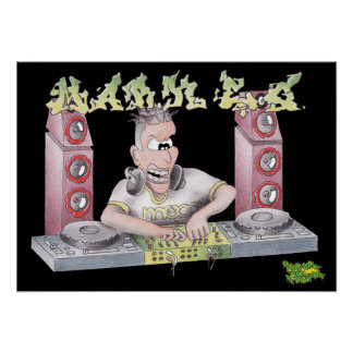 DJ mark e g graffiti cartoon print/poster Poster